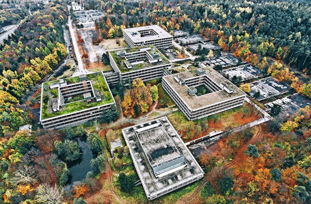 Ein fast 20 Hektar großes Gesamtareal: In einer Luftaufnahme lässt sich die unvorstellbare Größe der Ex-IBM-Zentrale am Rande von Vaihingen am besten verdeutlichen. Foto: Max Leitner