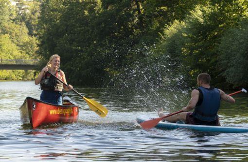 Auf dem Kanu die Enz  entlang