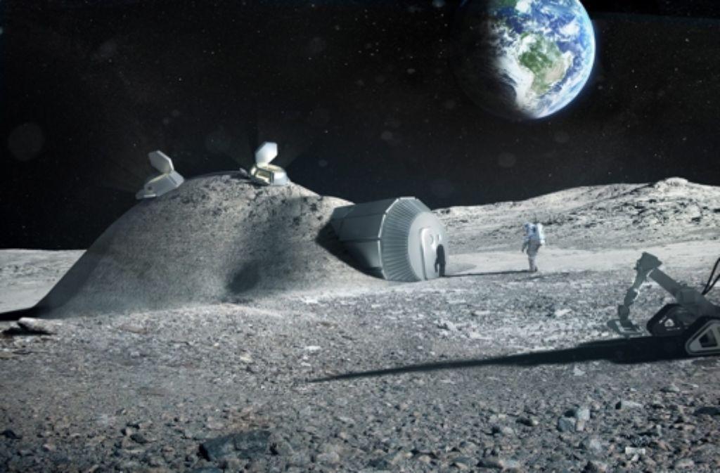 Eine künftige Mondbasis, wie Russland und Europa sie sich vorstellen. Foto: ESA