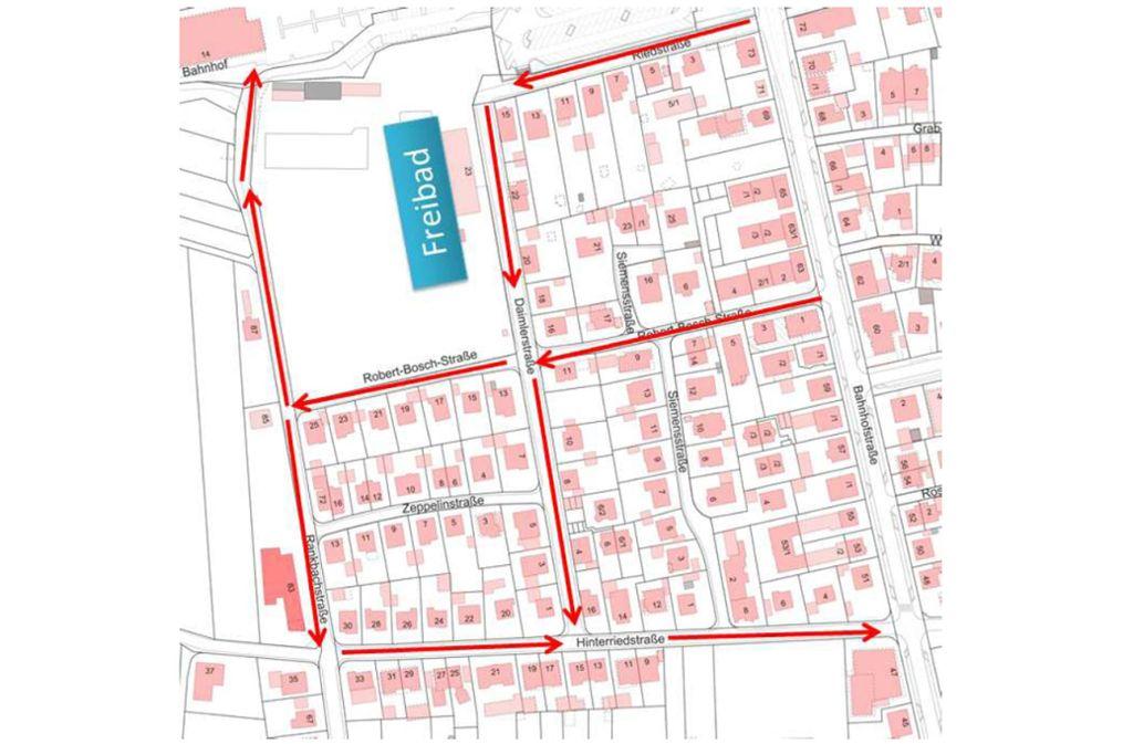 Rings ums Freibad herrscht jetzt in mehreren Straßen eine Einbahnstraßen-Regelung. Foto: Stadt Renningen