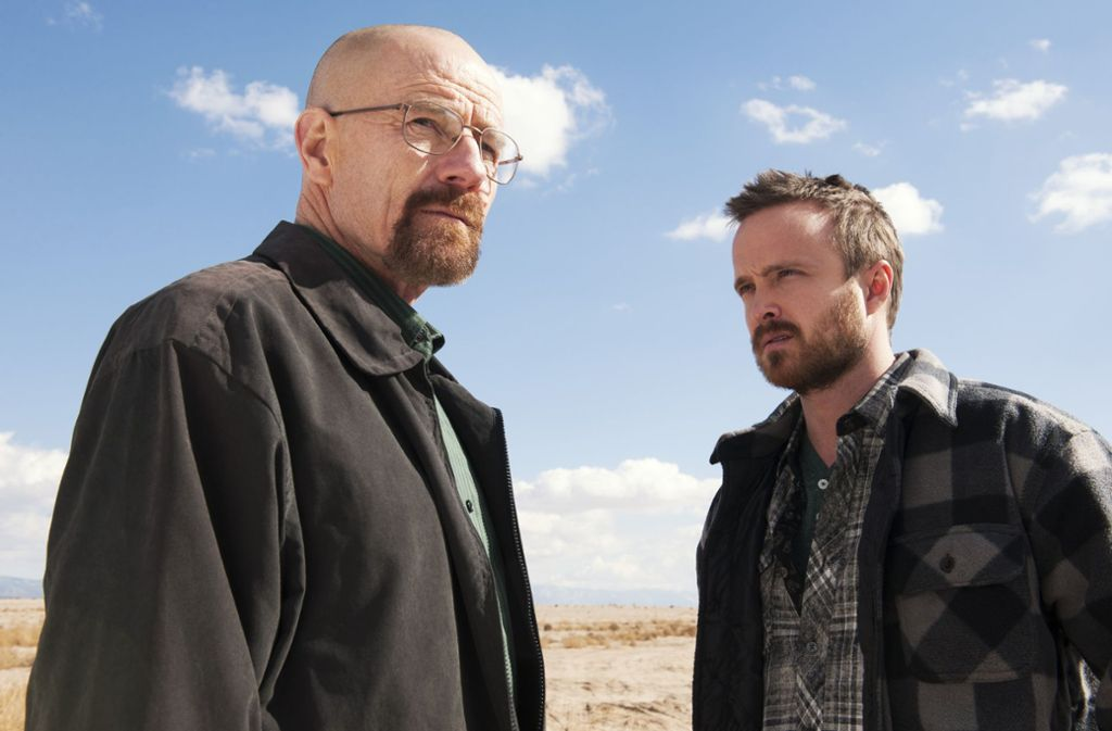 """Die beiden Hauptdarsteller von """"Breaking Bad"""": Walter White (Bryan Cranston, links) und Jesse Pinkman (Aaron Paul, rechts). Foto: dpa"""