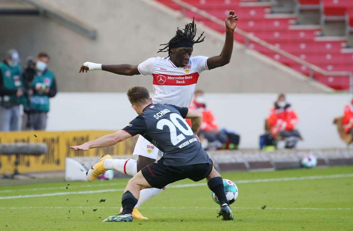 Tanguy Coulibaly und der VfB Stuttgart haben sich einen Heimsieg gegen Bremen erarbeitet. Foto: Pressefoto Baumann