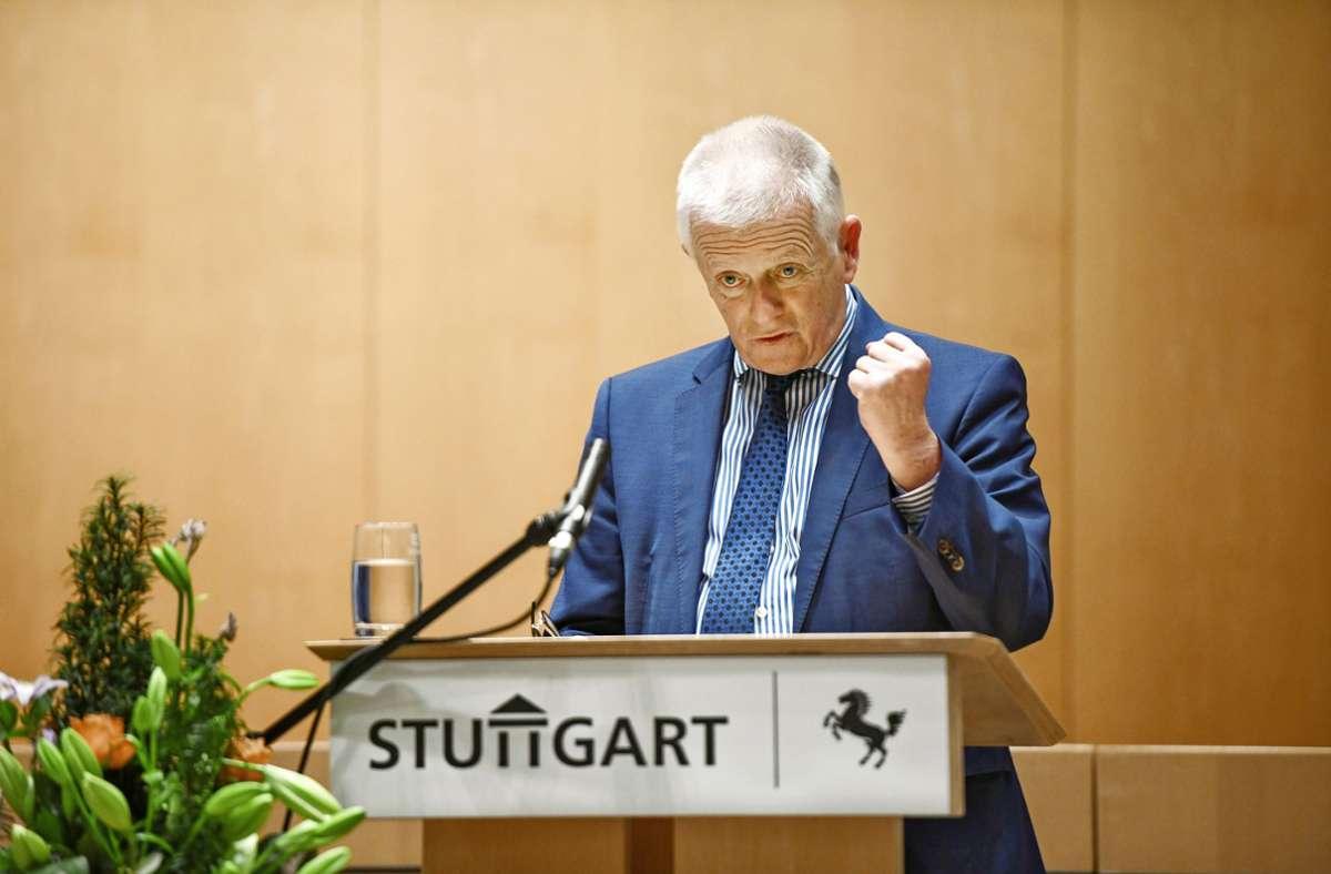 Alt-OB Fritz Kuhn wird mit der Bürgermedaille der Landeshauptstadt geehrt. Foto: Lichtgut/Leif Piechowski