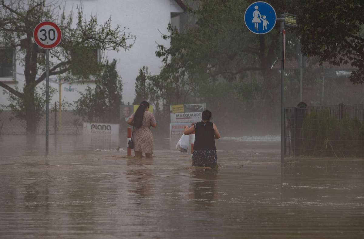In Kirchheim/Teck sorgte Starkregen für starke Überflutungen. Foto: 7aktuell.de/Simon Adomat/7aktuell.de | Simon Adomat