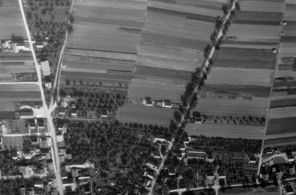 """Im Norden von Oeffingen gab es im Jahr 1955 nur """"Sträßle"""". Foto: Stadtmessungsamt Stuttgart"""