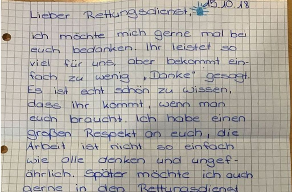 Mit diesem Brief sorgt Johanna für einen viralen Hit. Foto: Malteser Stuttgart