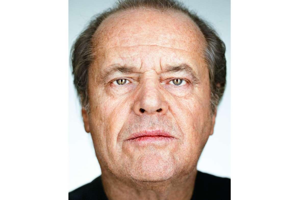 Nahaufnahme eines Schauspielstars: Jack Nicholson, fotografiert von Martin Schoeller im Jahr  2002. Foto: Martin Schoeller/Steidl Verlag