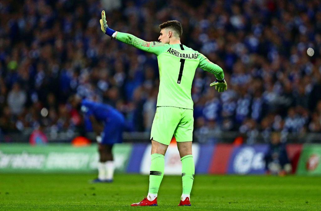 Kepa Arrizabalaga vom FC Chelsea wollte seinen Platz im Tor partout nicht räumen und muss nun eine fette Strafe zahlen. Foto: Getty