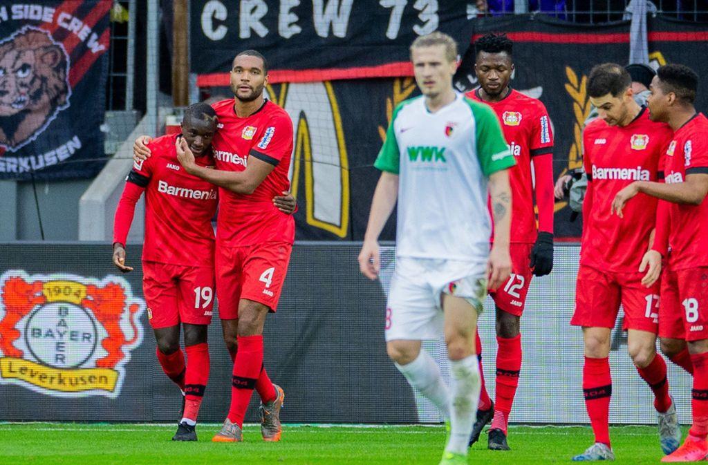 Moussa Diaby (links) war der überragende Mann bei Bayer Leverkusen. Foto: dpa/Rolf Vennenbernd