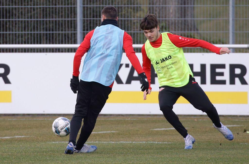 Lilian Egloff beim Training: Das VfB-Talent durfte gegen Leverkusen bereits für elf Minuten Profiluft schnuppern. Foto: Pressefoto Baumann/Hansjürgen Britsch