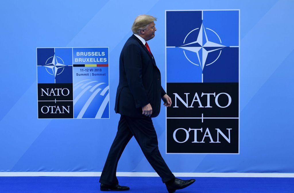 US-Präsident Donald Trump drängt die Nato-Verbündeten, dass sie künftig deutlich mehr  für Verteidigung ausgeben Foto: AFP