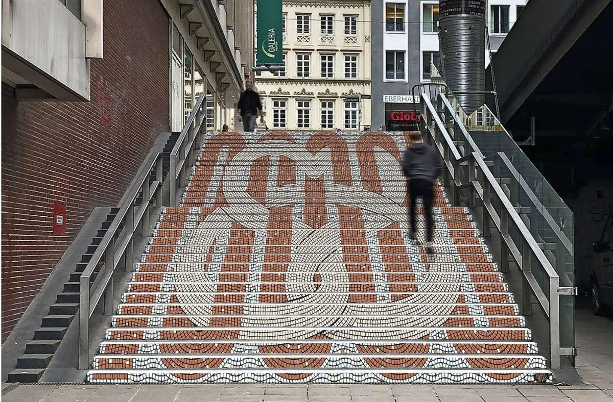 Staffel mit Brezelherz: So könnte schon bald die Treppe an der Hirschstraße aussehen. Die Stadt will durch künstlerische Gestaltung die Benutzung attraktiver machen. Foto: Tobias Bauer