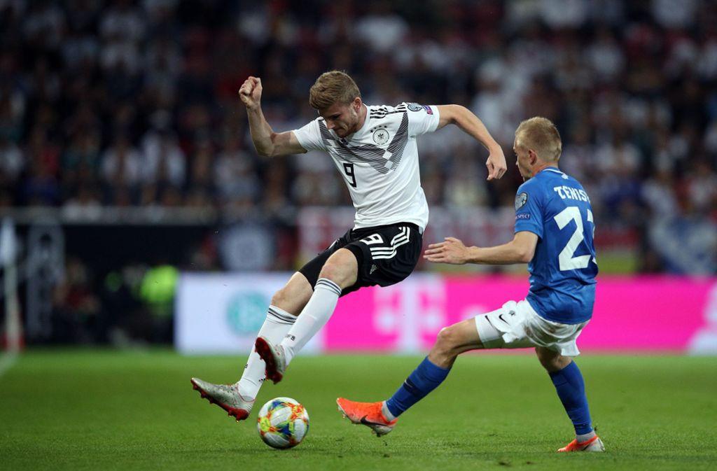Voller Einsatz: Timo Werner im EM-Qualifikationsspiel gegen Estland Foto: Getty