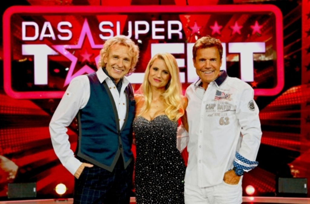 """Die Jury des """"Supertalents"""": Thomas Gottschalk, Michelle Hunziker und Dieter Bohlen (v.l.). Foto: RTL"""