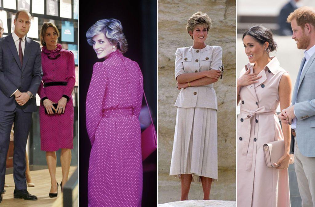 Da muss man zwei Mal hinschauen: Prinzessin Diana (Mitte) in Kleidern, die ihre Schwiegertöchter Kate (links) und Meghan (rechts) heute ganz ähnlich tragen. Foto: Imago/dpa/AP