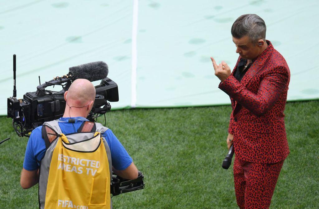 Sänger Robbie Williams trat bei der Eröffnungsfeier der WM in Russland auf. Foto: Getty Images Europe