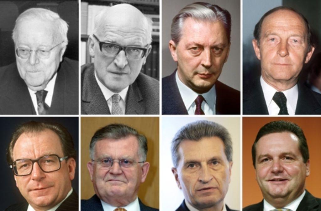 Acht Ministerpräsidenten in 60 Jahren Landesgeschichte: Reinhold Maier (1952-1953), Gebhard Müller (1953-1958), Kurt Georg Kiesinger (1958-1966), Hans Filbinger (1966-1978) Lothar Späth (1978-1991), Erwin Teufel (1991-2005), Günther Oettinger (1005-2010) und Stefan Mappus (2010-2011). Foto: dpa