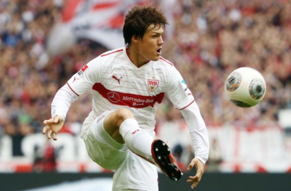 Rechtsverteidiger Gotoku Sakai im Spiel des VFB Stuttgart gegen Werder Bremen. Foto: Pressefoto Baumann
