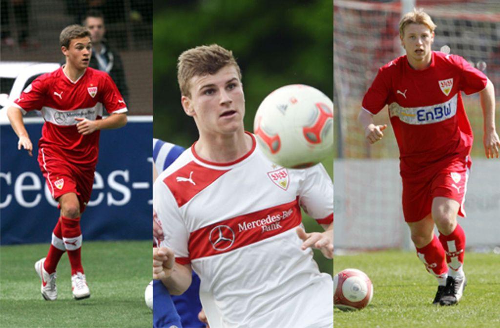 Beim VfB Stuttgart ausgebildet und ausgezeichnet: Joshua Kimmich, Timo Werner und Patrick Funk (v.l.) Foto: Pressefoto Baumann