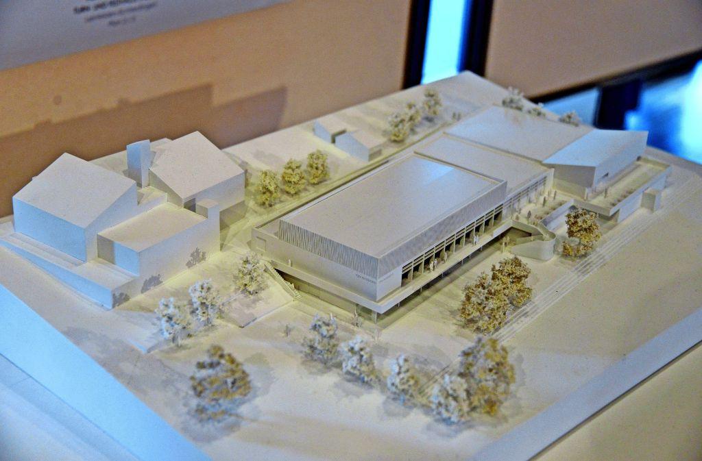So soll die neue Halle in der Musberger Ortsmitte einmal aussehen. Dazu muss der alte Gebäudekomplex   teilweise abgerissen werden. Foto: N. Leven