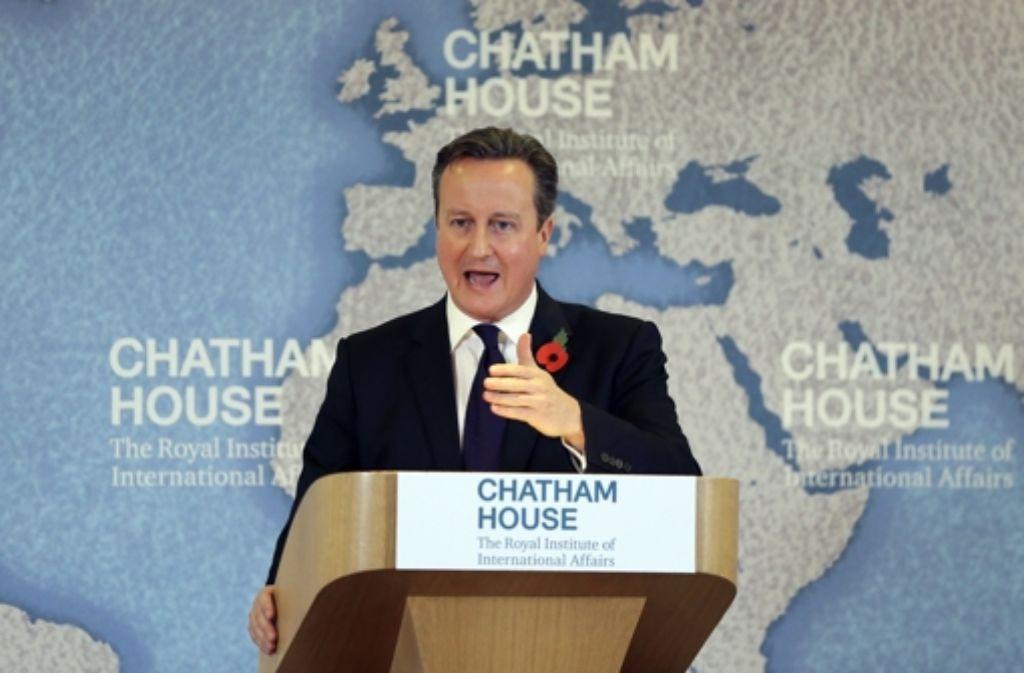 In einer Rede in London präsentierte der britische  Premierminister David Cameron  seine Forderungen für eine EU-Reform. Foto: AFP