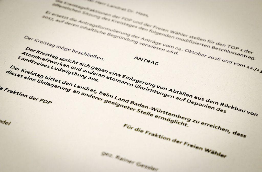 So sieht der Antrag aus, der am Freitag im Kreistag in Ludwigsburg eine Mehrheit bekommen hat. Foto: factum/Granville
