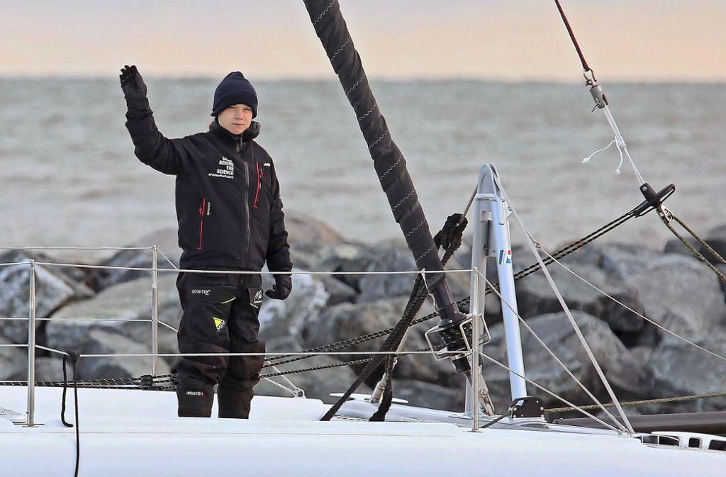 "Greta Thunberg an Bord der Segeljacht ""La Vagabonde"". Das Foto entstand Mitte November in den USA. Foto: dpa/Rob Ostermaier"