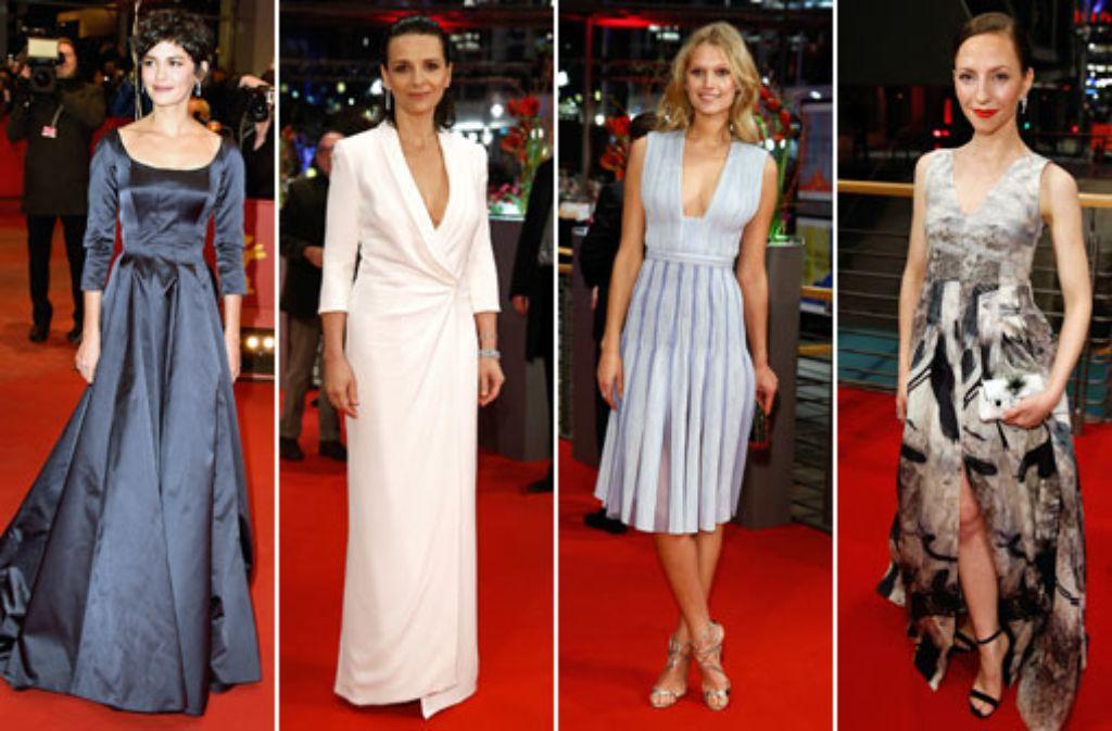 Modisch war am Eröffnungsabend der Berlinale einiges geboten: Audrey Tautou, Juliette Binoche, Toni Garrn und Katharina Schüttler (von links) Foto: Getty Images