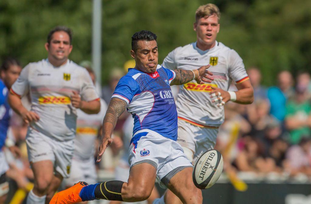 Die Spieler aus Samoa wollen an einzelnen Trainingsorten in Japan enganliegende «Pellen» tragen. Foto: dpa/Jürgen Kessler