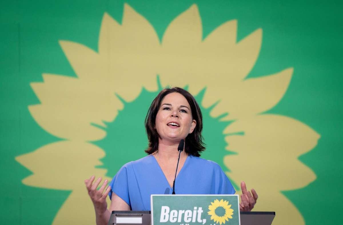 Grünen-Spitzenkandidatin Annalena Baerbock am Sonntag auf der Bundesdelegiertenkonferenz ihrer Partei. Foto: dpa/Kay Nietfeld