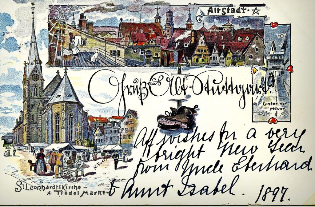 """Schon vor  über 100 Jahren war Leonhardsviertel die """"Altstadt"""". Die Karte mit Zeichnungen von Karl Fuchs ist 1897 beschrieben worden. Vor der Kirche befand sich ein Trödelmarkt. Foto: Sammlung Wolfgang Müller"""
