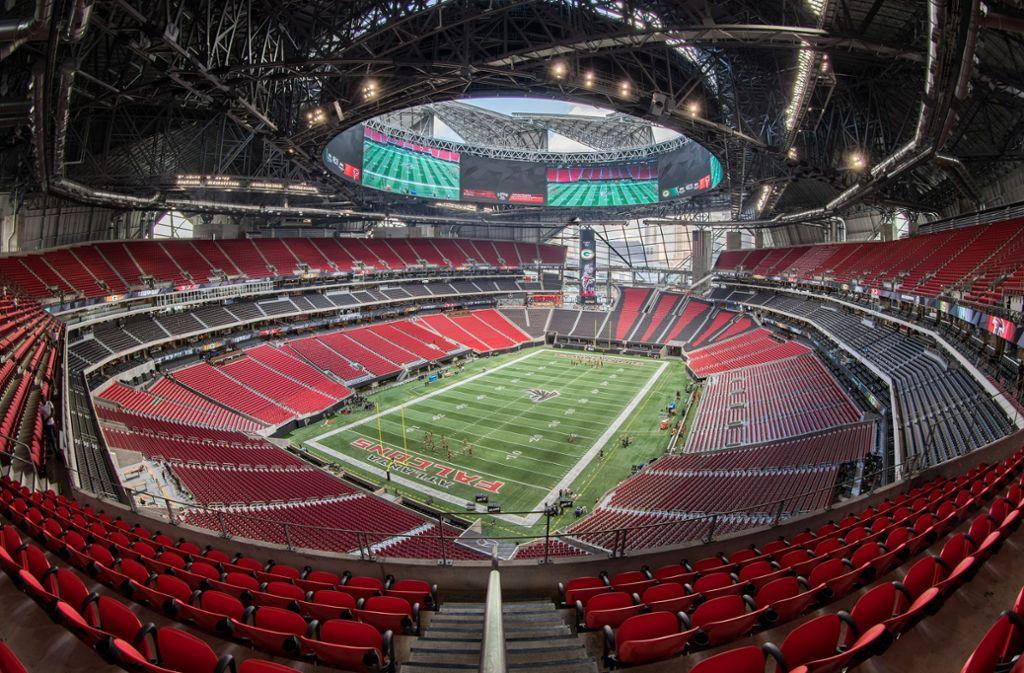 Am 3. Februar findet hier im Mercedes-Benz-Stadium in Atlanta der Super Bowl statt. Foto: Mercedes-Benz -Stadium