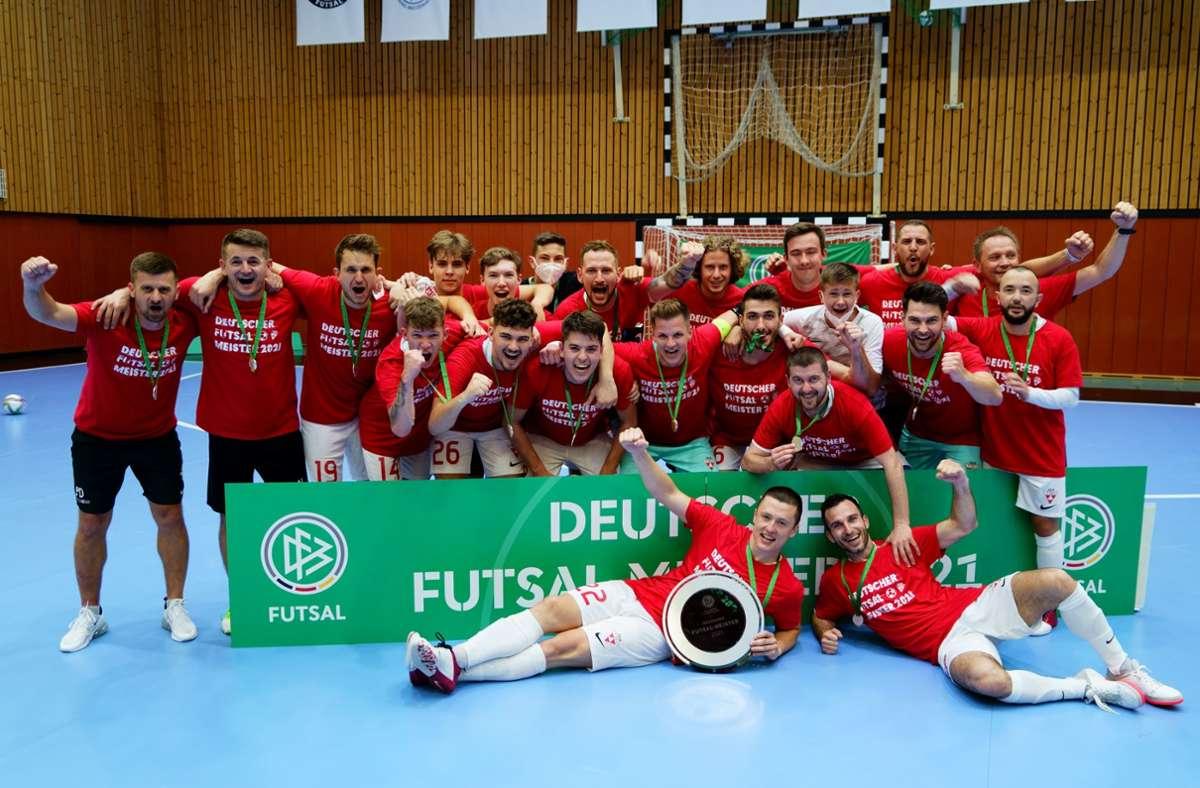 Der TSV Weilimdorf feierte in diesem Jahr zum zweiten Mal die deutsche Meisterschaft im Futsal. Jetzt geht es um die Teilnahme an der Champions League. Foto: TSV Weilimdorf