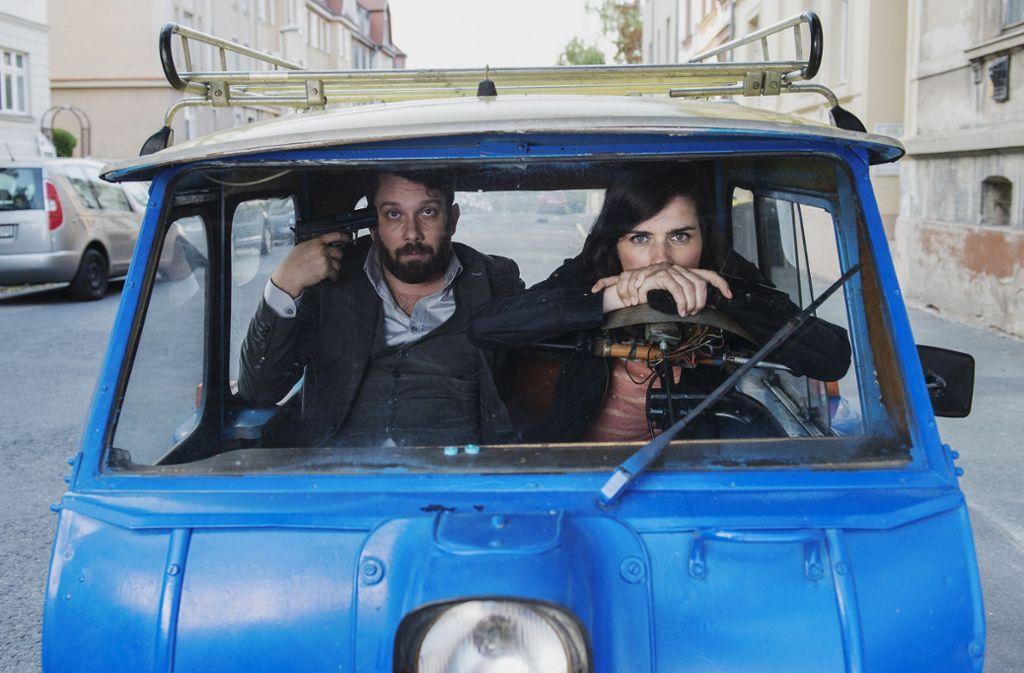 Auf der Flucht: Lessing (Christian Ulmen) und Kira Dorn (Nora Tschirner) Foto: MDR/Stephanie Kul