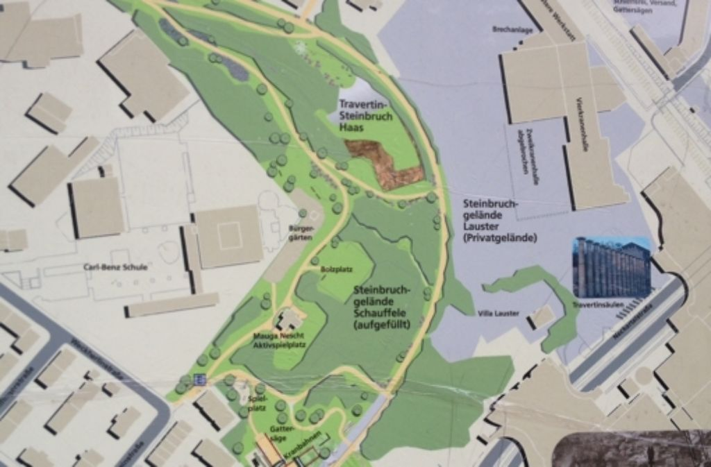Die Abbildung zeigt den Travertinpark in seiner jetzigen Größe. Foto: