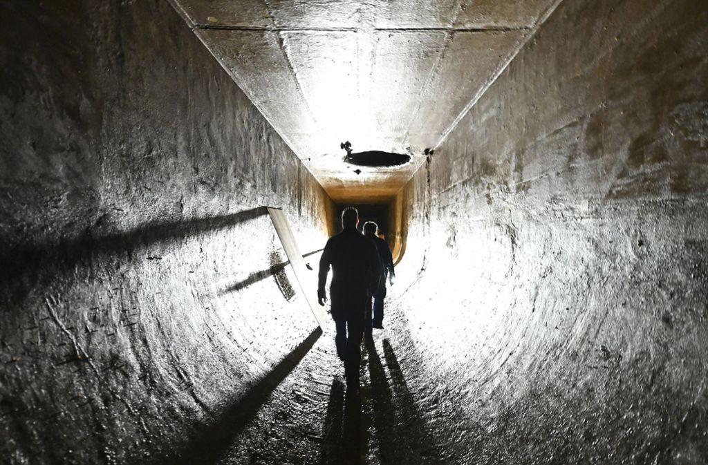 Zwei Mitarbeiter der Bodenseewasserversorgung kontrollieren eine technische Anlage in Sipplingen. Die Quagga-Muschel gefährdet nicht nur  heimische Tierarten im Bodensee, sondern auch technische Anlagen und damit die Wasserversorgung  für Millionen von Menschen. Foto: Patrick Seeger/dpa