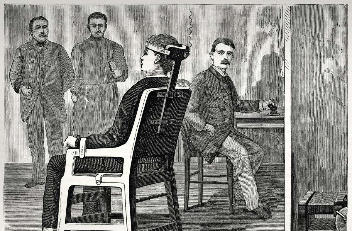 Historische Darstellung einer Hinrichtung auf dem elektrischen Stuhl Foto: Imago/United Archives International