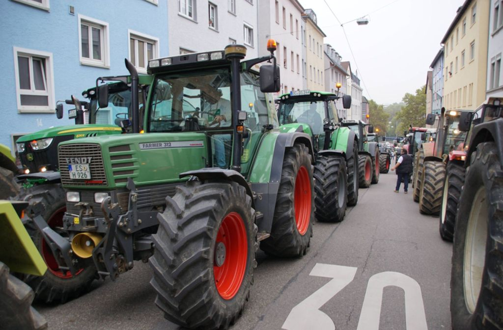 Die Landwirte machen mobil bei einer Demo in Stuttgart. Foto: 7aktuell.de/Andreas Werner