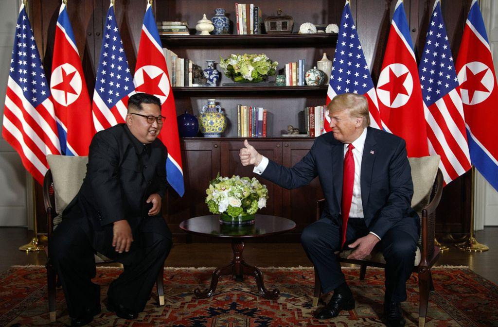 Der nordkoreanische Diktator Kim Jong Un und der US-Präsident donald Trump verstanden sich bestens. Foto: AP