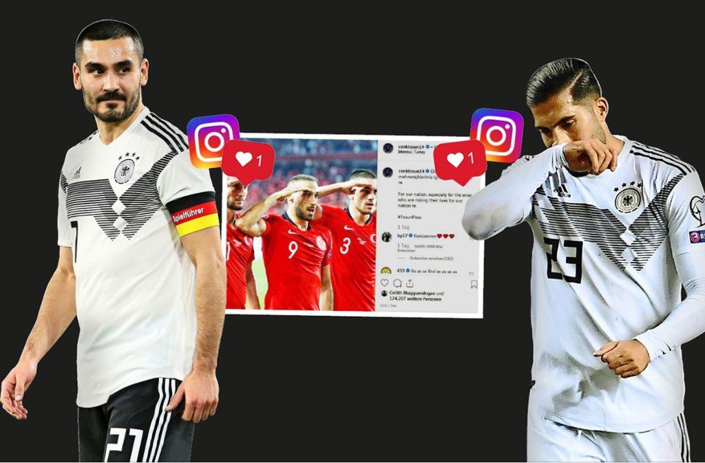 """Ilkay Gündogan (links) und Emre Can haben mit ihren """"Gefällt-mir""""-Klicks einen Shitstorm ausgelöst. Foto: Baumann, dpa/Federico Gambarini, instagram/cenktosun14Montage: Ruckaberle"""