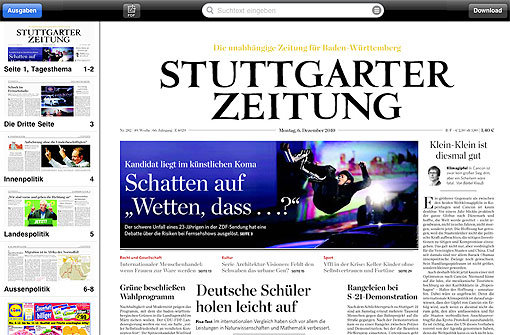 Stuttgarter Zeitung, iPad, ePress-App, E-Paper, Digi-Paper, App, Apple