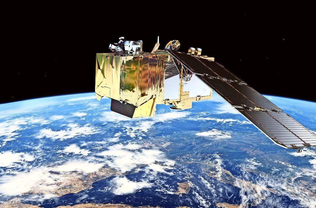 Kommunikations- und   Forschungssatelliten können mit der Ariane 6 kostengünstiger ins All gebracht werden. Die Animation zeigt den Forschungssatelliten  Sentinel 2. Foto: ESA/ATG medialab