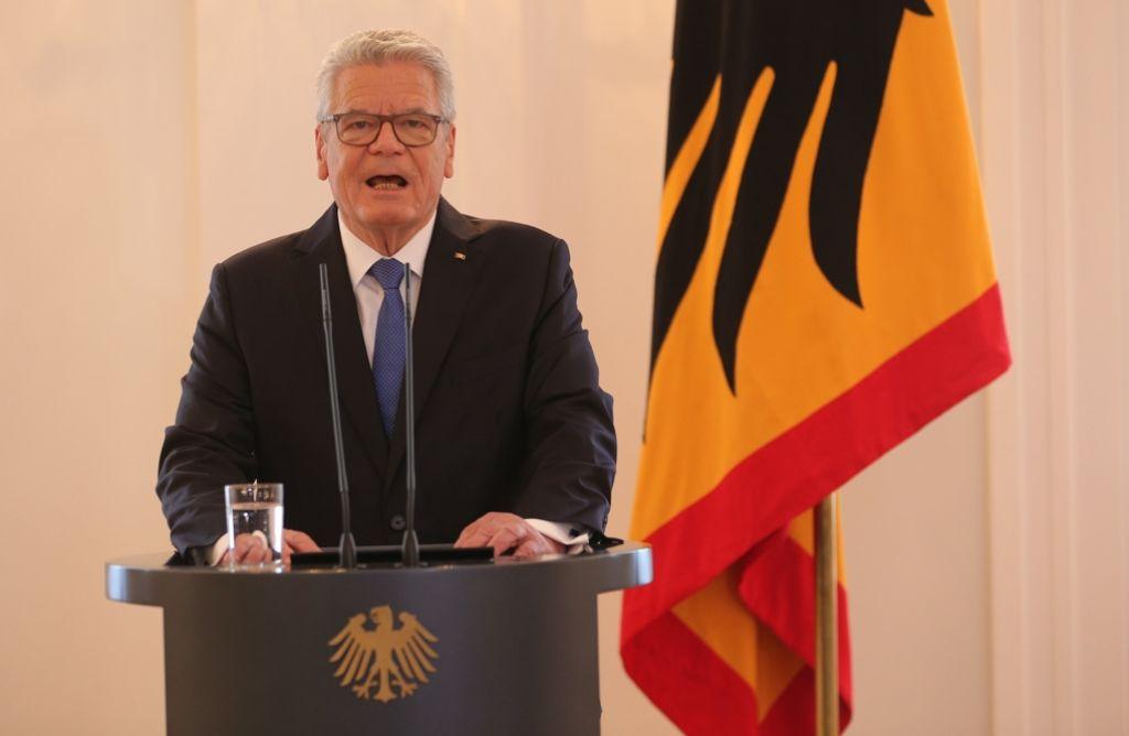 Will nicht mehr: Joachim Gauck bei seiner Erklärung in Berlin. Foto: dpa