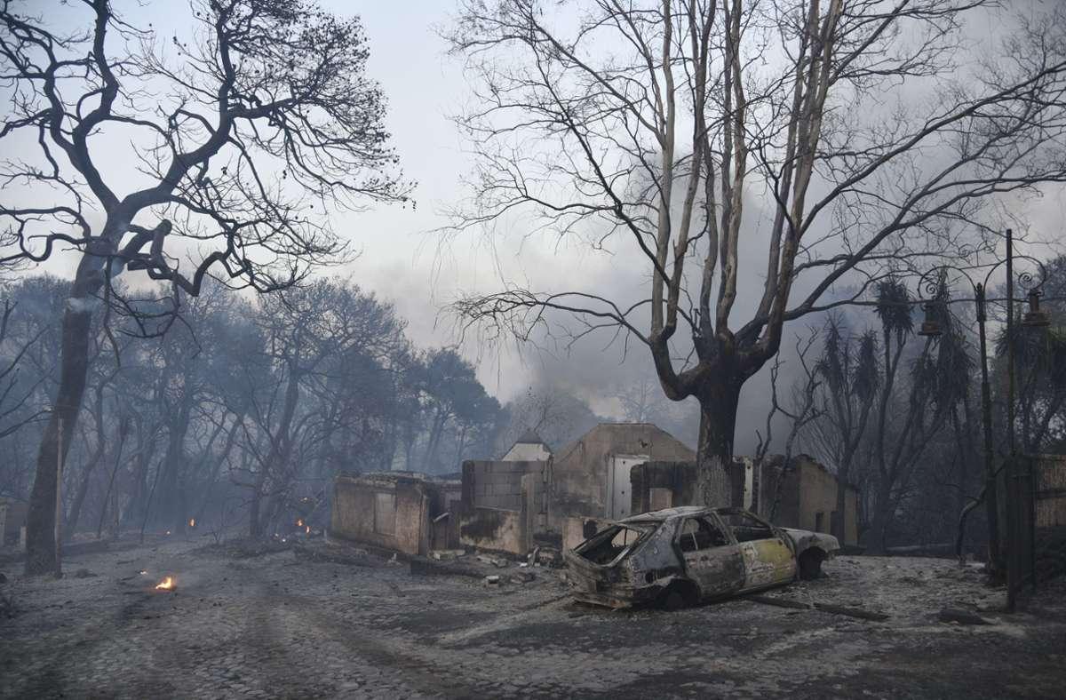 Ein  Waldbrand war  in der Nähe des Dorfes Lampiri, westlich von Patras, ausgebrochen. Foto: dpa/Andreas Alexopoulos