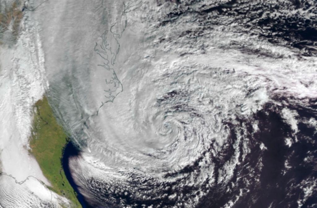 Der Hurrikan Sandy vor der Nordostküste der USA, fotografiert vom europäischen Satelliten Metop-A Foto: Esa
