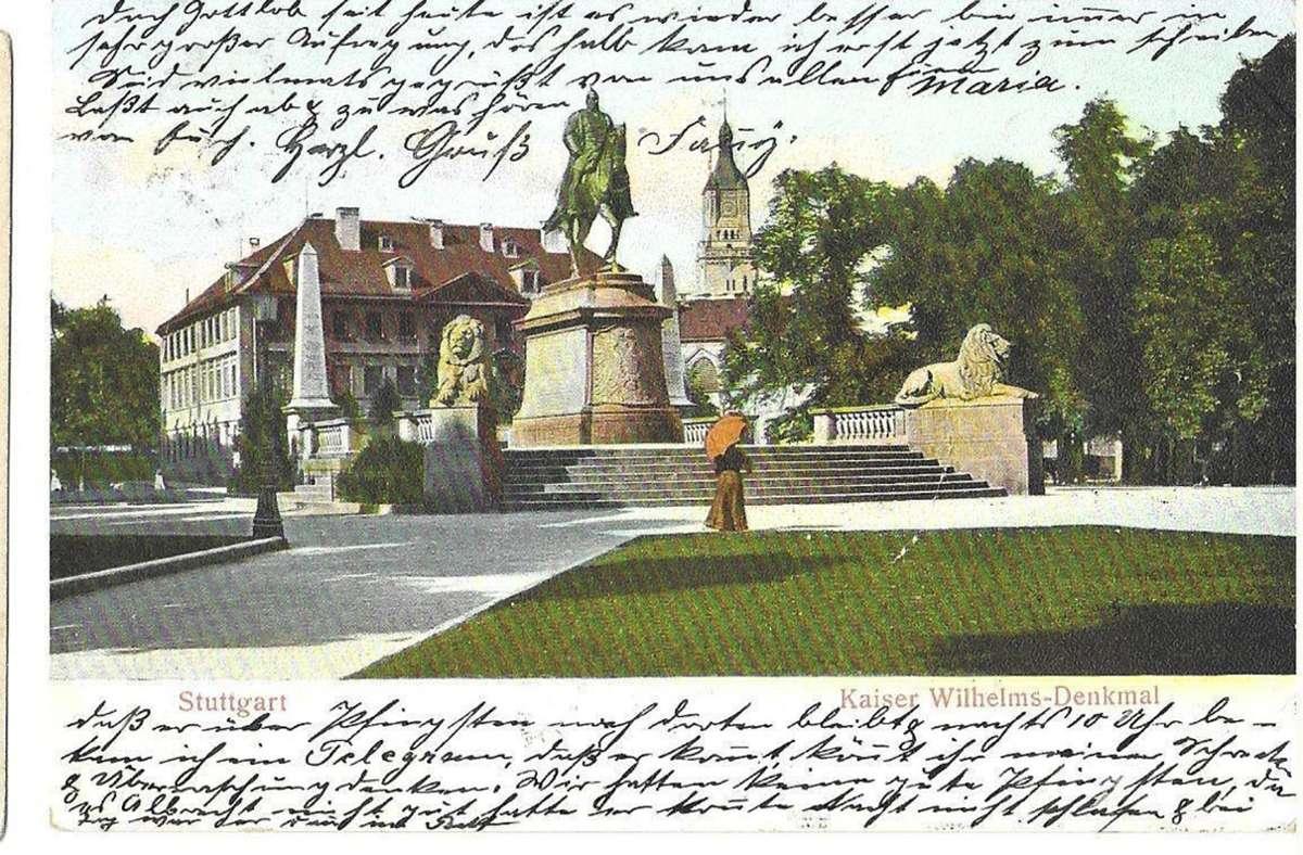 Diese Karlsplatz-Karte ist von 1906. Die Wege zwischen dem Rasen liefen auf Kaiser Wilhelm I. zu Foto: Sammlung Wibke Wieczorek
