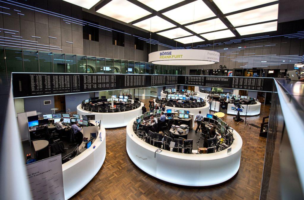 Die Frankfurter Börse: Börsenhändler und Banker verdienten gut mit Cum-Ex-Geschäften. Foto: dpa