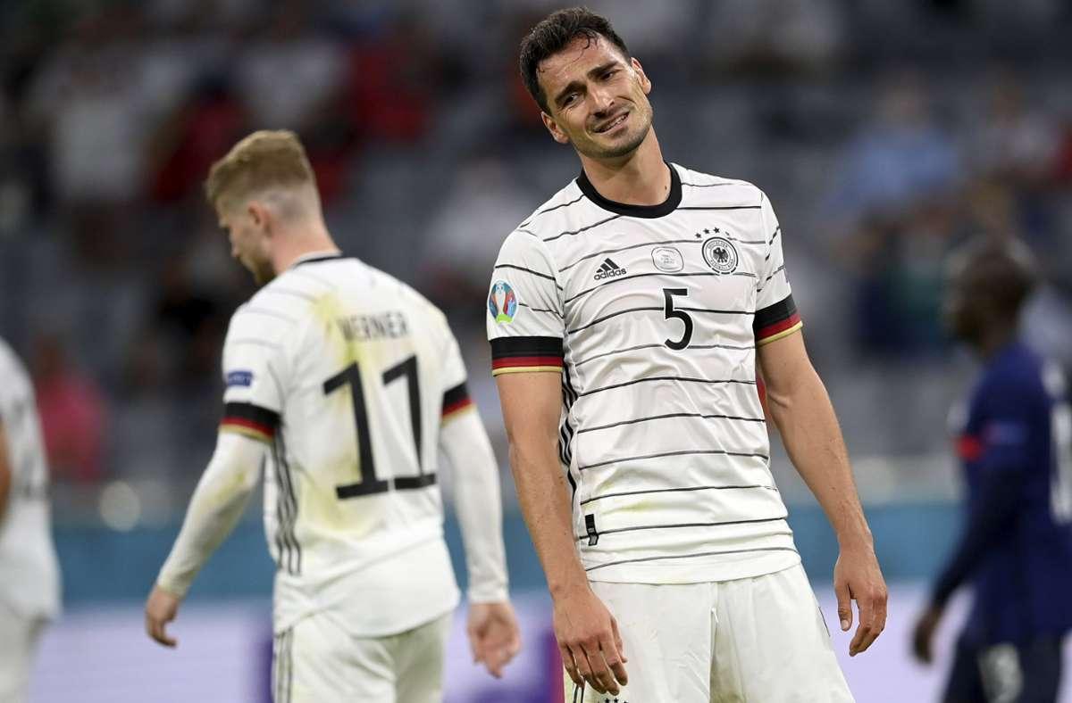 Er war der Pechvogel im Spiel gegen Frankreich: Mats Hummels Foto: dpa/Matthias Hangst