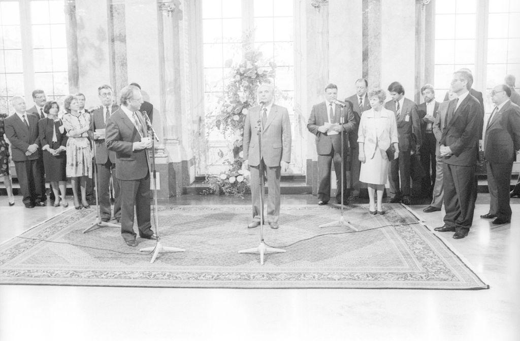Michail Gorbatschow  anlässlich des Staatsbesuches in Stuttgart. Foto: imago stock&people