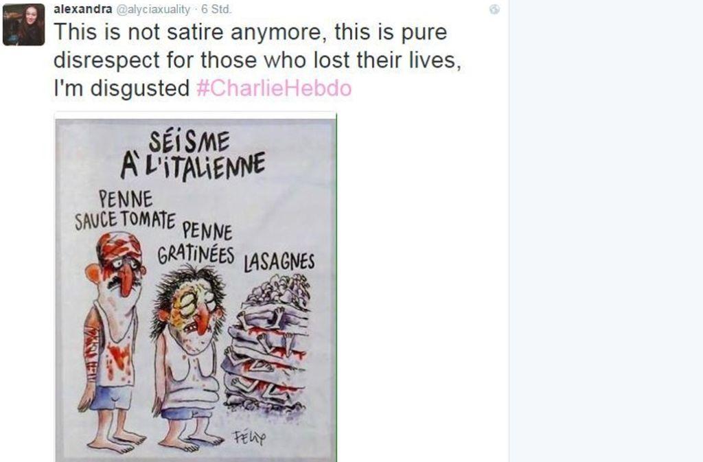 """In den sozialen Medien hat sich die Karikatur des Satiremagazins """"Charlie Hebdo"""" schnell verbreitet. Foto: Twitter/@alyciaxuality"""